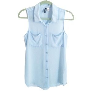 H&M Sleeveless Button Front Blouse Baby Blue Sz 4